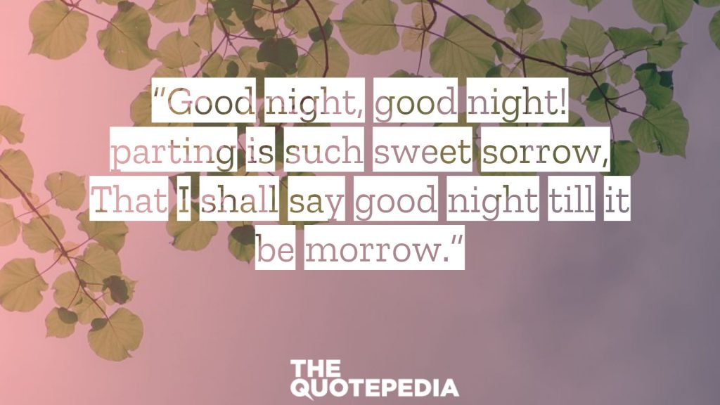 """Good night, good night! parting is such sweet sorrow, That I shall say good night till it be morrow."""