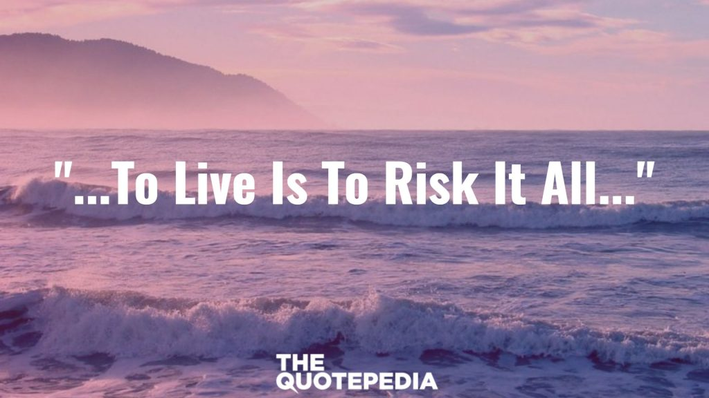 """...To Live Is To Risk It All..."""