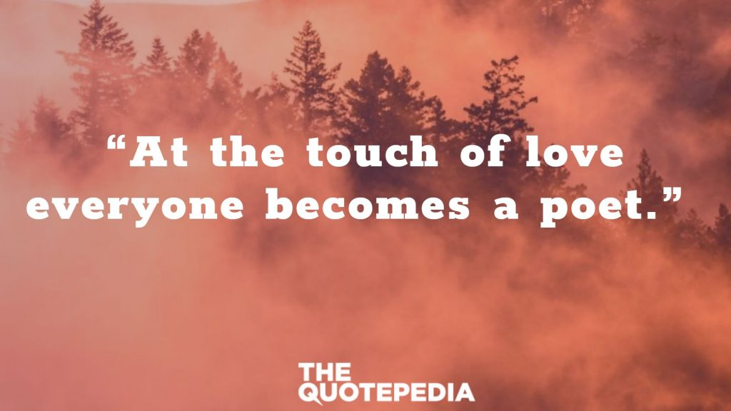 """At the touch of love everyone becomes a poet."""