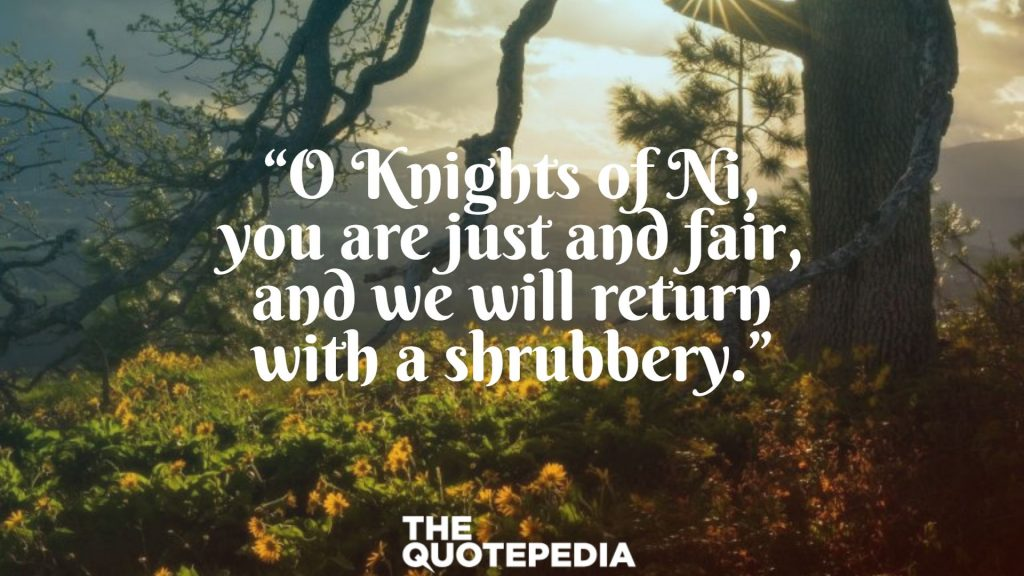 """""""O Knights of Ni, you are just and fair, and we will return with a shrubbery."""""""