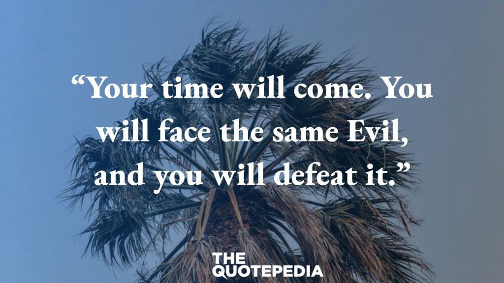 """Your time will come. You will face the same Evil, and you will defeat it."""
