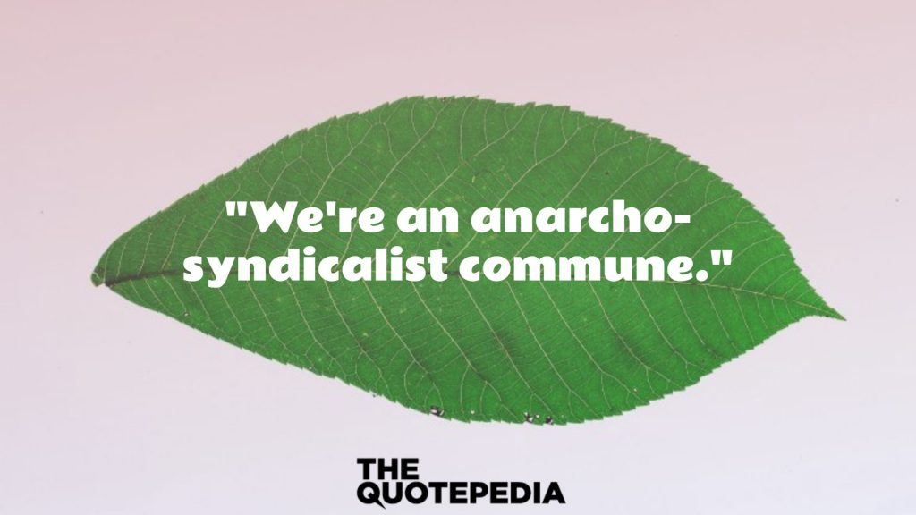 """""""We're an anarcho-syndicalist commune."""""""