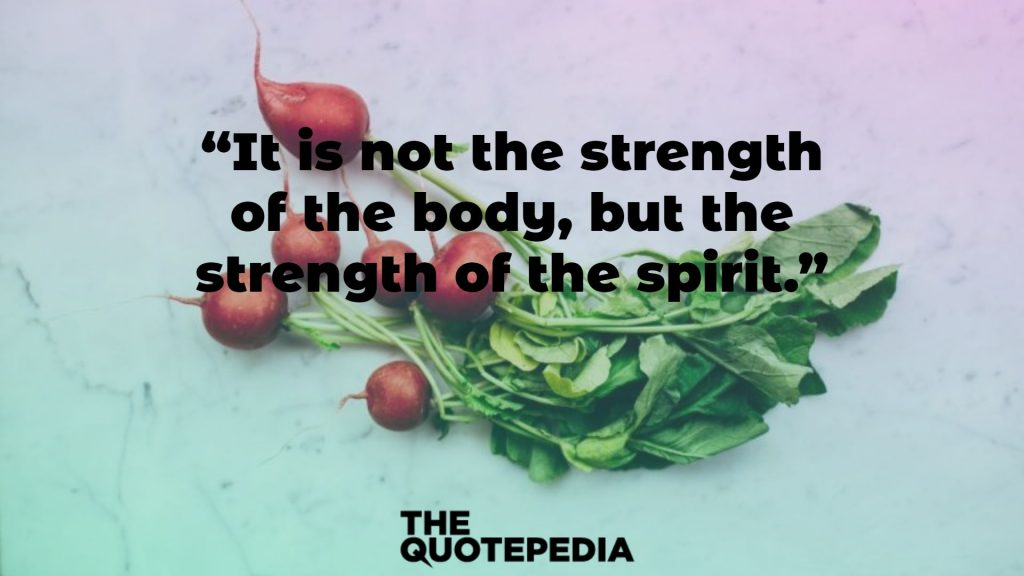 """It is not the strength of the body, but the strength of the spirit."""