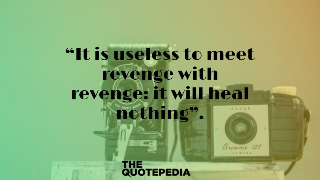 """It is useless to meet revenge with revenge: it will heal nothing""."