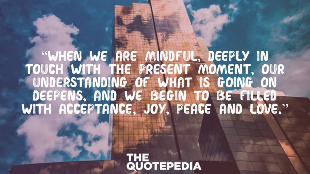 """""""When we are mindful, deeply in touch with the present moment, our understanding of what is going on deepens, and we begin to be filled with acceptance, joy, peace and love."""""""
