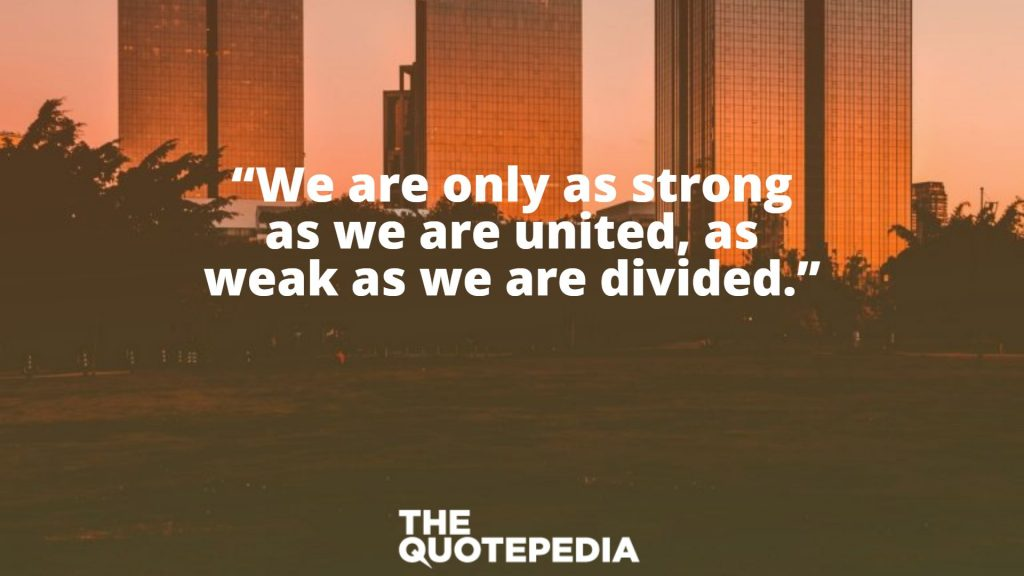 """""""We are only as strong as we are united, as weak as we are divided."""""""