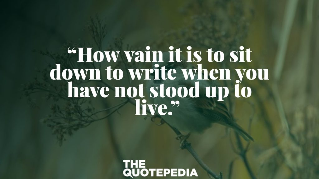 """""""How vain it is to sit down to write when you have not stood up to live."""""""