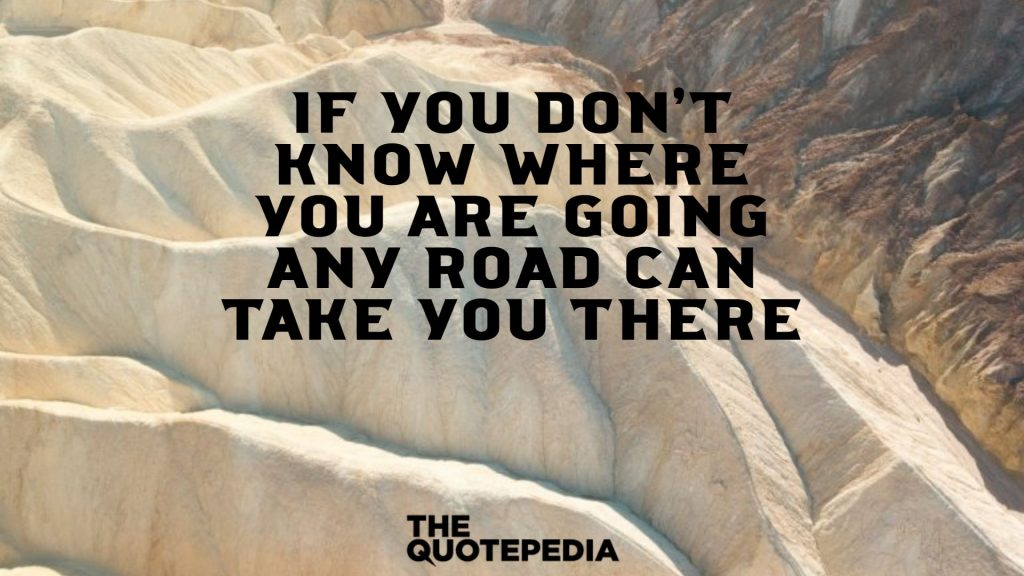 If you don't know where you are going any road can take you there.