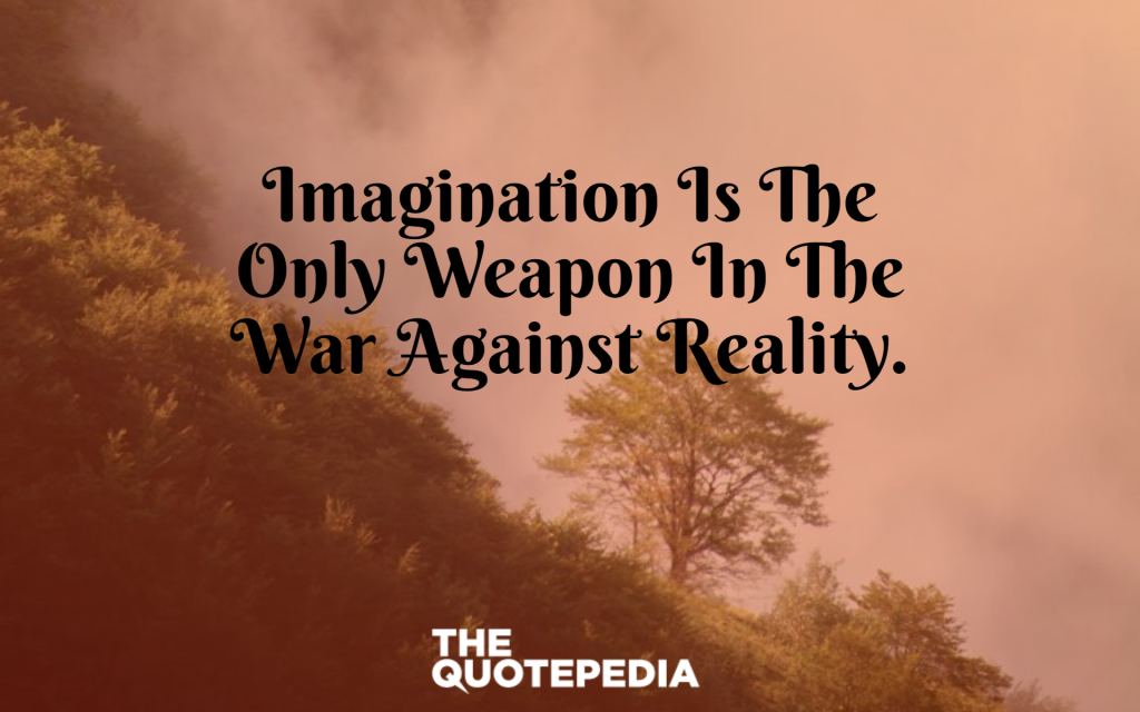 Imagination is the only weapon in the war against reality