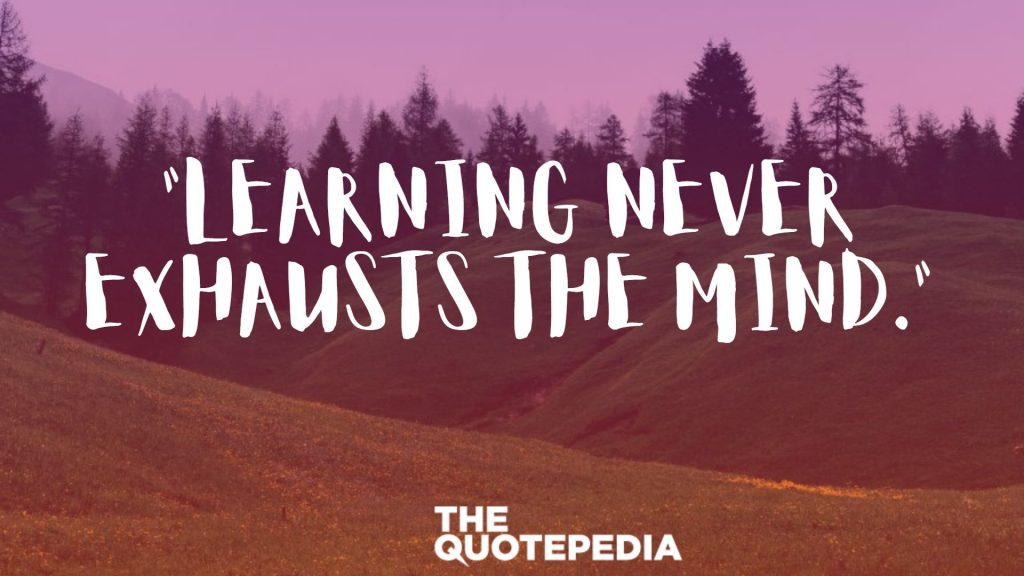 """Learning never exhausts the mind."""