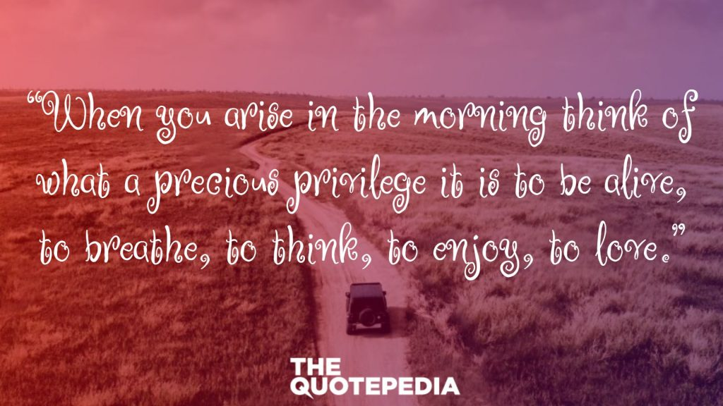 """When you arise in the morning think of what a precious privilege it is to be alive, to breathe, to think, to enjoy, to love."""