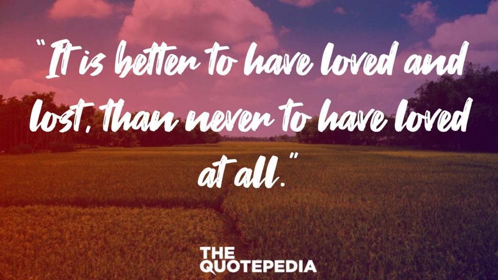 """It is better to have loved and lost, than never to have loved at all."""