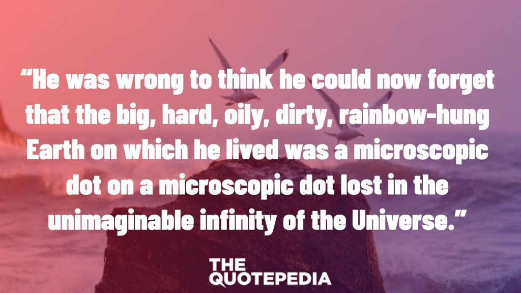 """He was wrong to think he could now forget that the big, hard, oily, dirty, rainbow-hung Earth on which he lived was a microscopic dot on a microscopic dot lost in the unimaginable infinity of the Universe."""