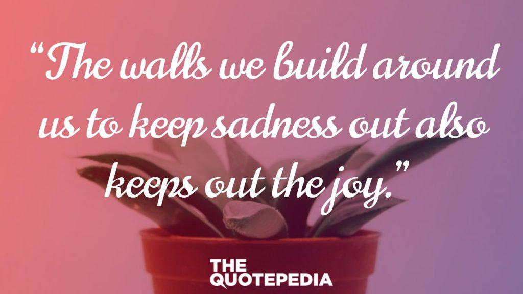 """The walls we build around us to keep sadness out also keeps out the joy."""