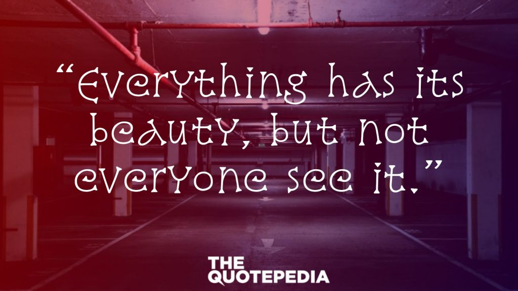 """Everything has its beauty, but not everyone see it."""