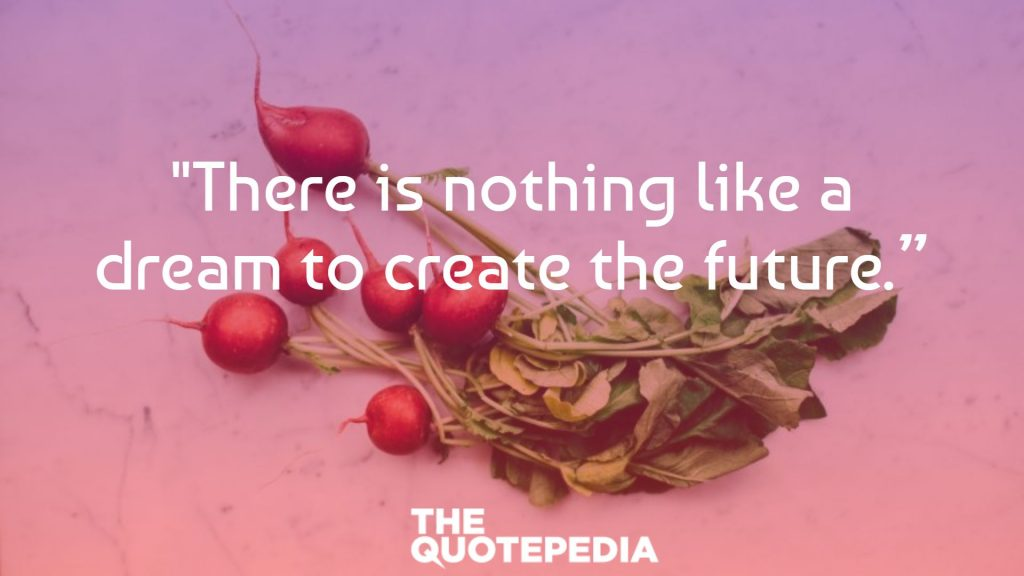 """""""There is nothing like a dream to create the future."""""""