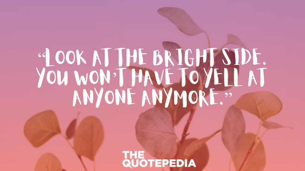 """Look at the bright side. You won't have to yell at anyone anymore."""