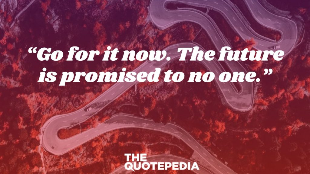 """""""Go for it now. The future is promised to no one."""""""