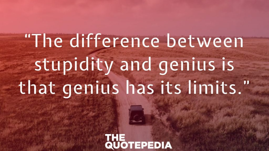 """The difference between stupidity and genius is that genius has its limits."""