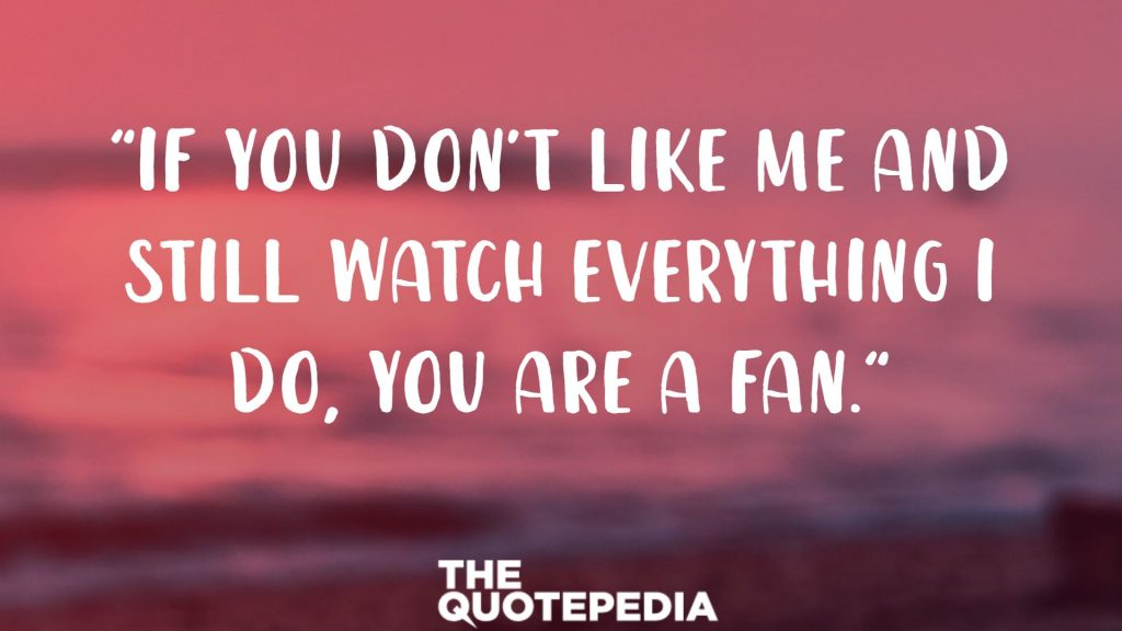 """If you don't like me and still watch everything I do, you are a fan."""