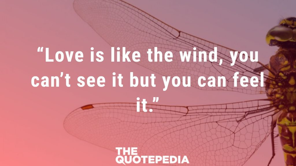 """Love is like the wind, you can't see it but you can feel it."""