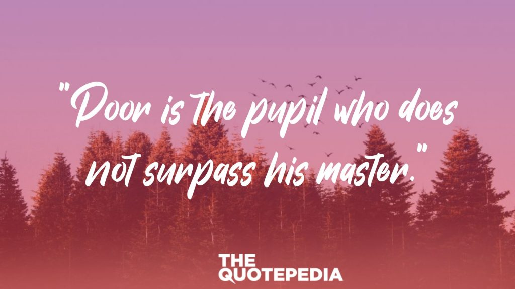 """Poor is the pupil who does not surpass his master."""