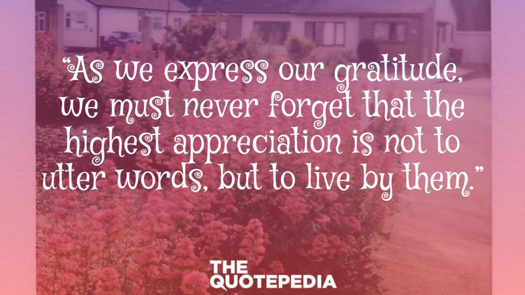 """As we express our gratitude, we must never forget that the highest appreciation is not to utter words, but to live by them."""