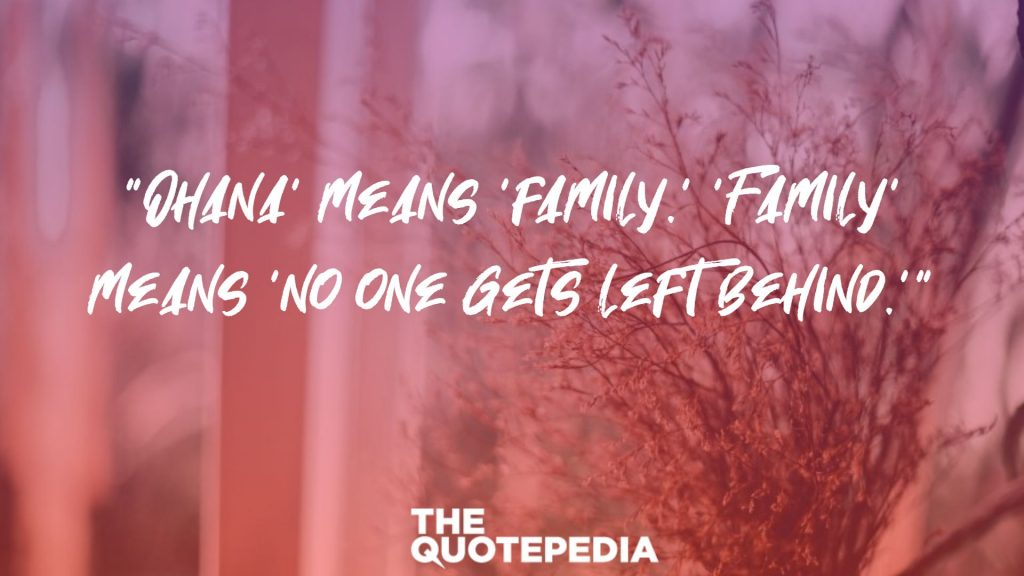 """Ohana' means 'family.' 'Family' means 'no one gets left behind.'"""