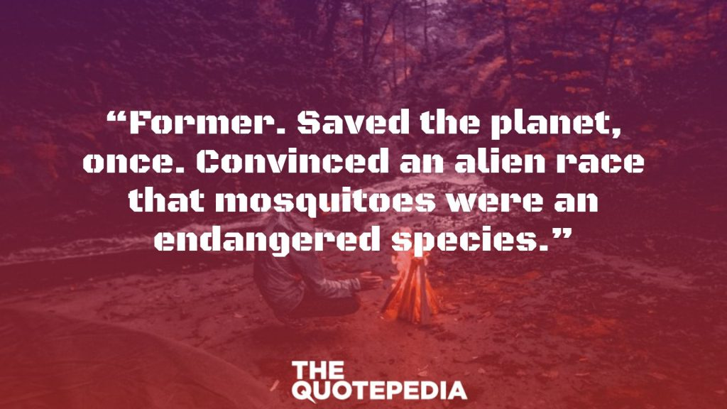 """Former. Saved the planet, once. Convinced an alien race that mosquitoes were an endangered species."""