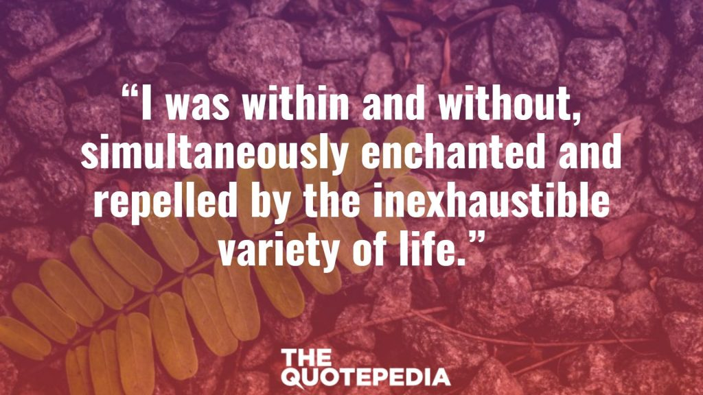 """I was within and without, simultaneously enchanted and repelled by the inexhaustible variety of life."""