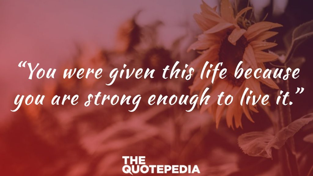 """You were given this life because you are strong enough to live it."""