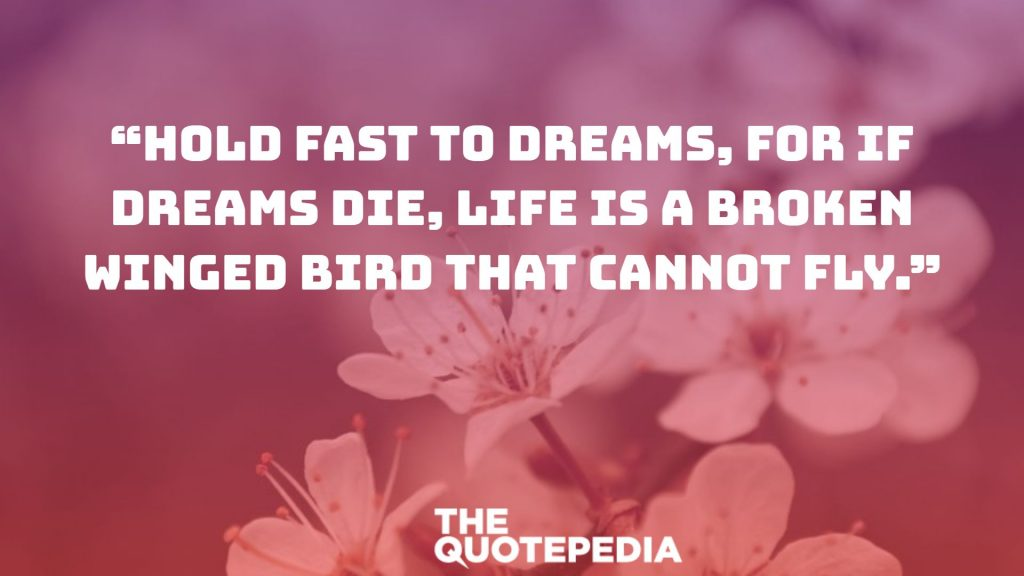 """Hold fast to dreams, for if dreams die, life is a broken winged bird that cannot fly."""