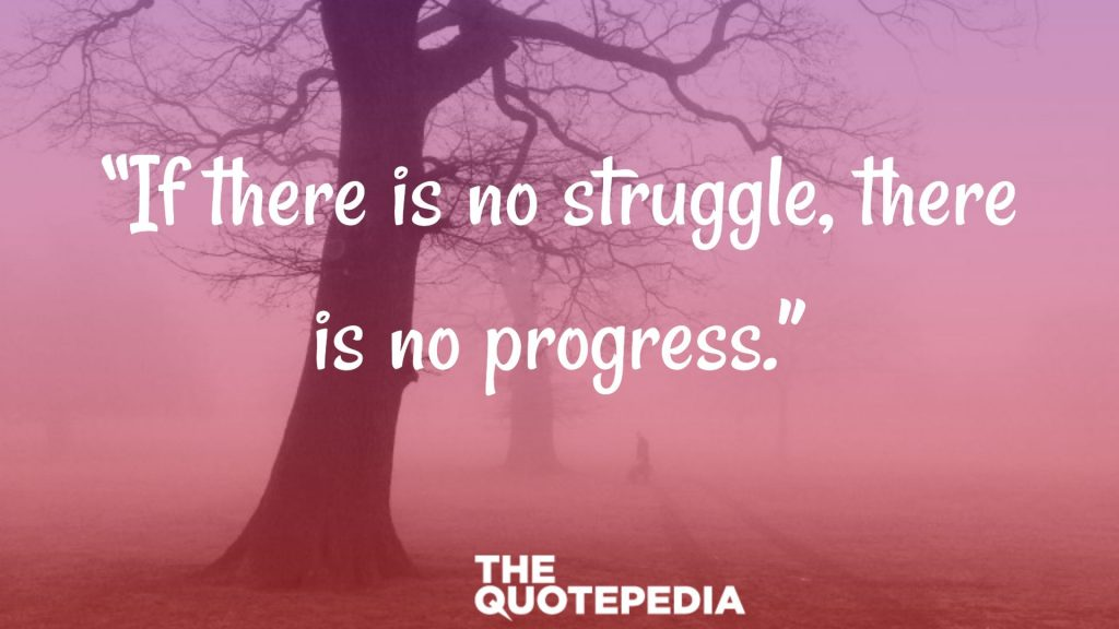 """If there is no struggle, there is no progress."""
