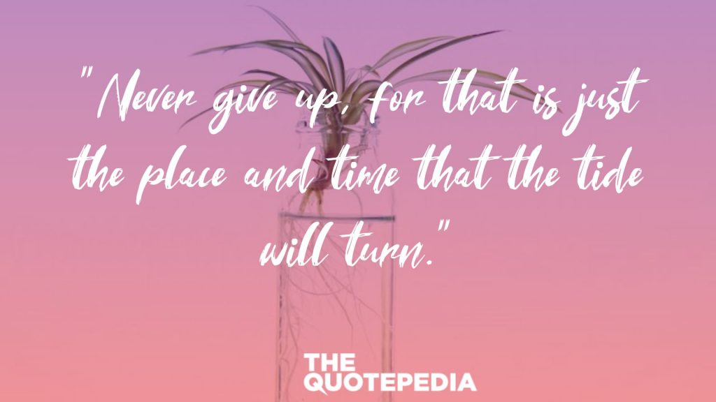 """Never give up, for that is just the place and time that the tide will turn."""