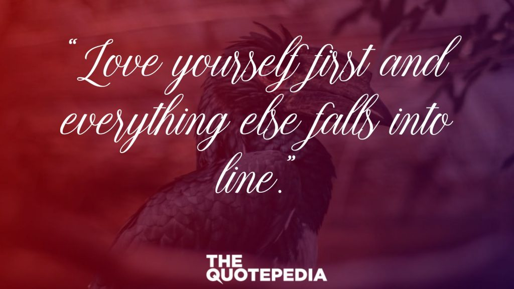 """Love yourself first and everything else falls into line."""