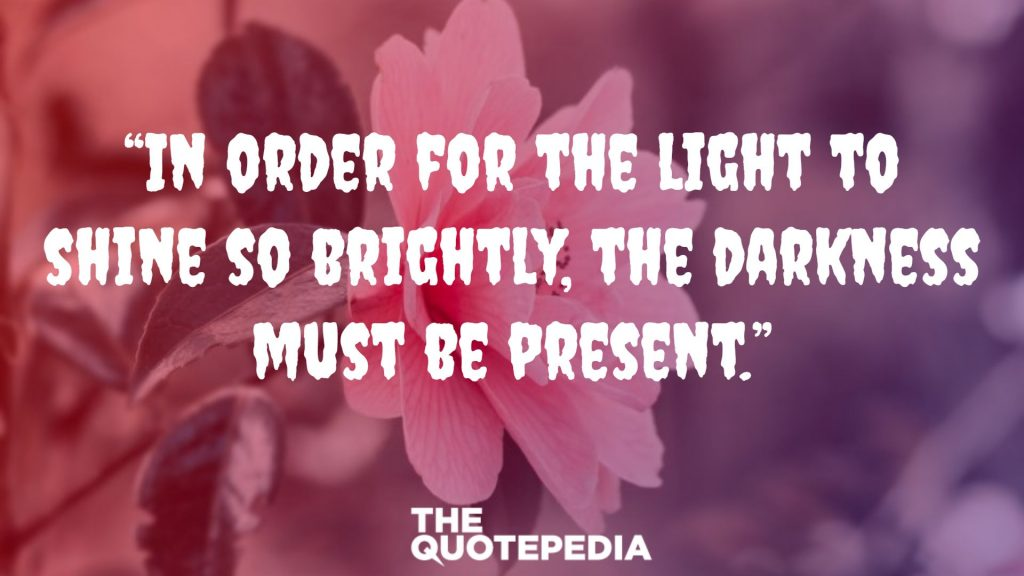 """In order for the light to shine so brightly, the darkness must be present."""