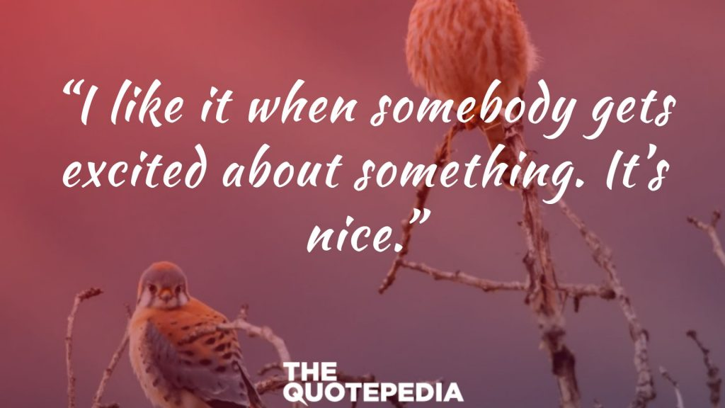 """I like it when somebody gets excited about something. It's nice."""