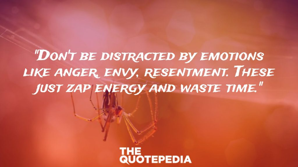 """Don't be distracted by emotions like anger, envy, resentment. These just zap energy and waste time."""