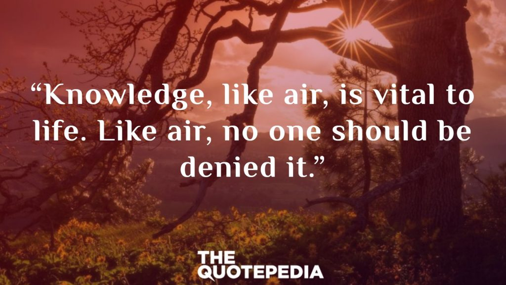 """Knowledge, like air, is vital to life. Like air, no one should be denied it."""