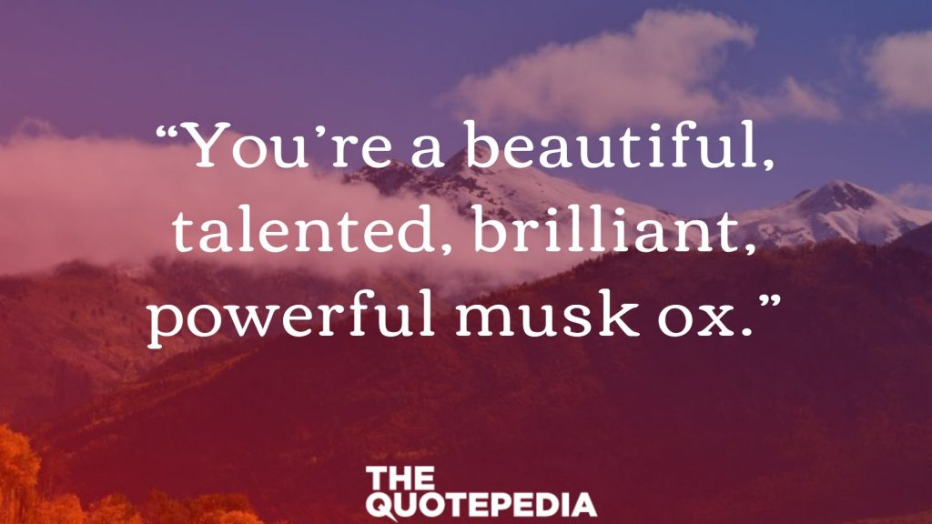 """""""You're a beautiful, talented, brilliant, powerful musk ox."""""""