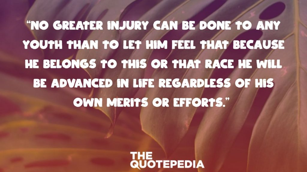 """No greater injury can be done to any youth than to let him feel that because he belongs to this or that race he will be advanced in life regardless of his own merits or efforts."""