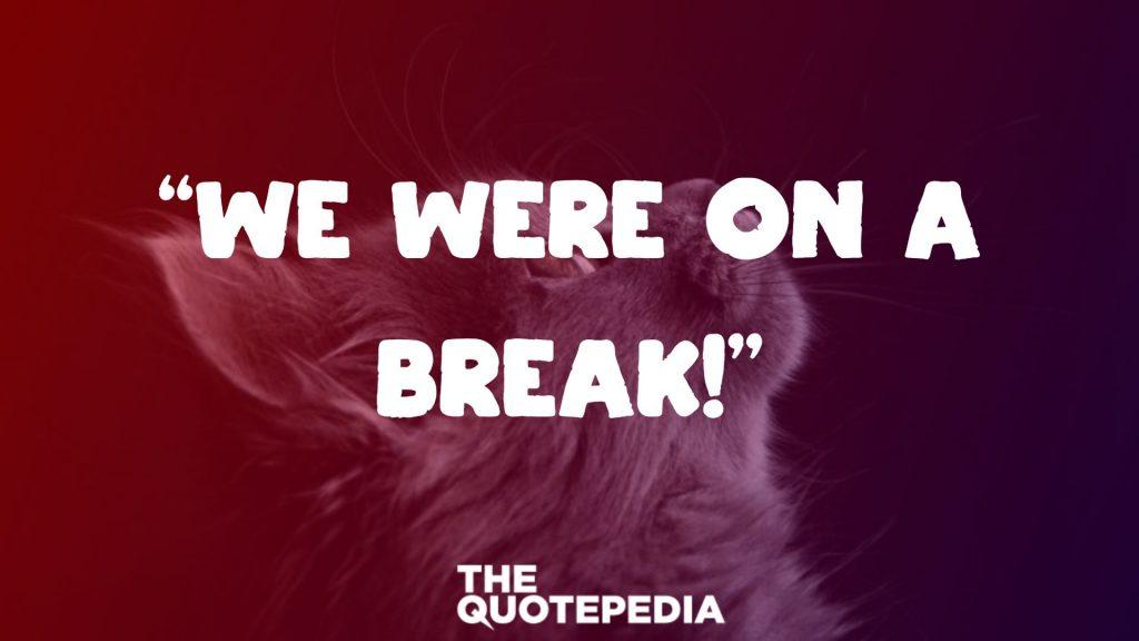 """""""We were on a break!"""""""