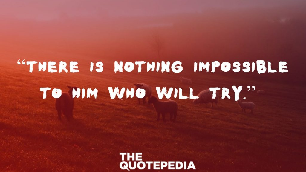 """""""There is nothing impossible to him who will try."""""""