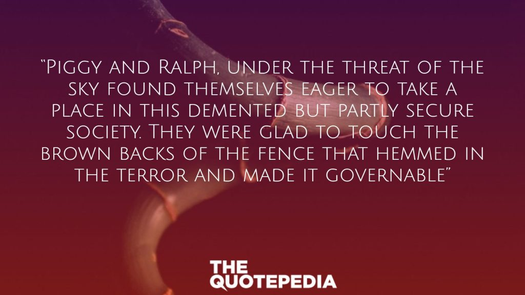 """""""Piggy and Ralph, under the threat of the sky found themselves eager to take a place in this demented but partly secure society. They were glad to touch the brown backs of the fence that hemmed in the terror and made it governable"""""""