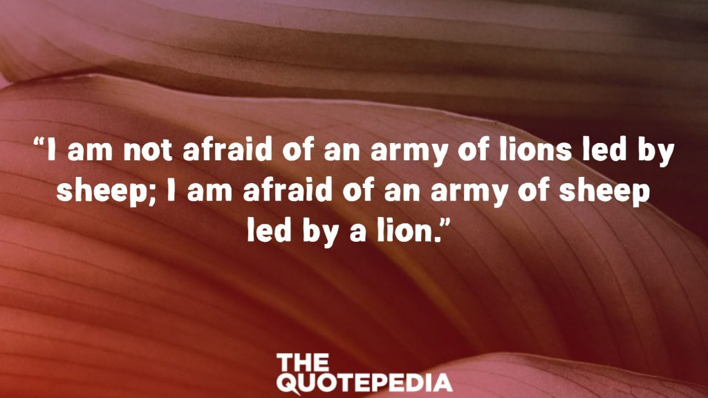 """""""I am not afraid of an army of lions led by sheep; I am afraid of an army of sheep led by a lion."""""""