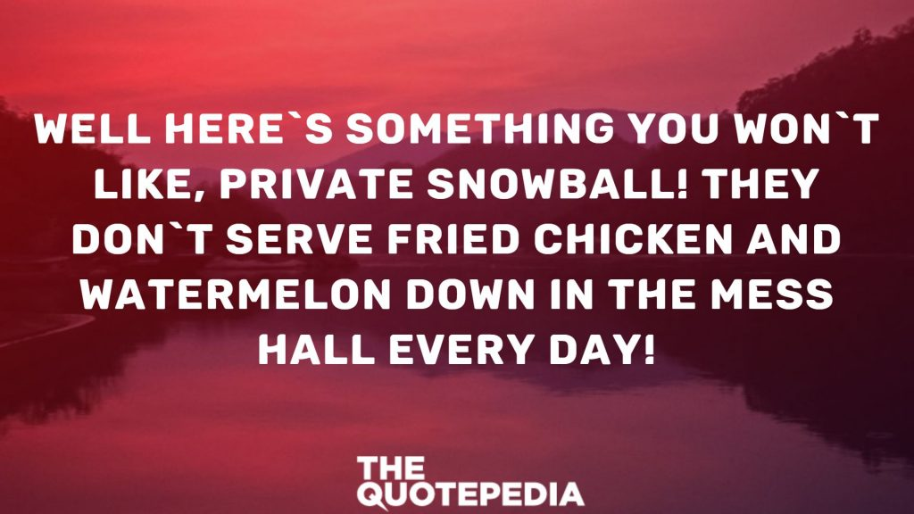 Well here`s something you won`t like, Private Snowball! They don`t serve fried chicken and watermelon down in the mess hall every day!