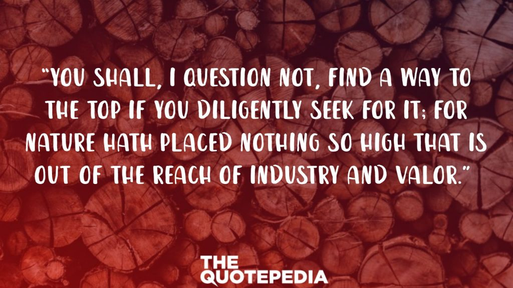 """""""You shall, I question not, find a way to the top if you diligently seek for it; for nature hath placed nothing so high that is out of the reach of industry and valor."""""""