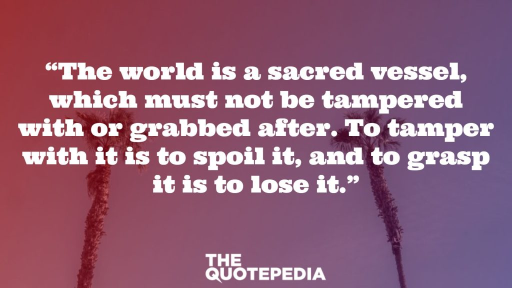 """""""The world is a sacred vessel, which must not be tampered with or grabbed after. To tamper with it is to spoil it, and to grasp it is to lose it."""""""