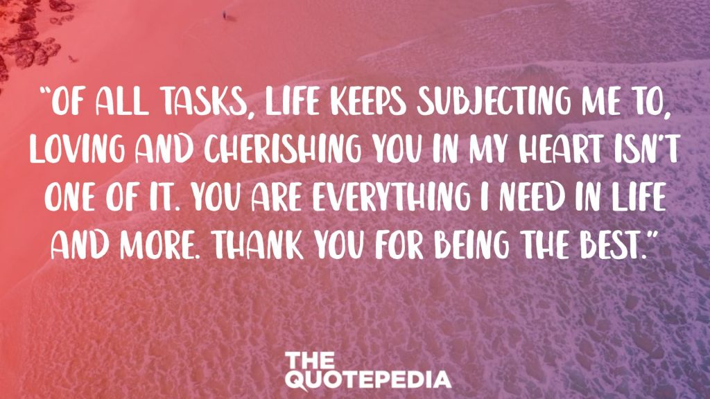 """Of all tasks, life keeps subjecting me to, loving and cherishing you in my heart isn't one of it. You are everything I need in life and more. Thank you for being the best."""